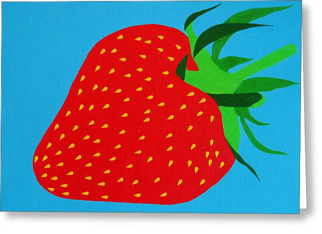 Sensational Greeting Cards - Strawberry Pop Greeting Card by Oliver Johnston