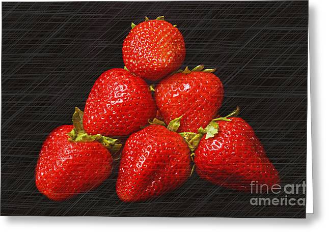 Passion Fruit Greeting Cards - Strawberry Pyramid On Black Greeting Card by Andee Design
