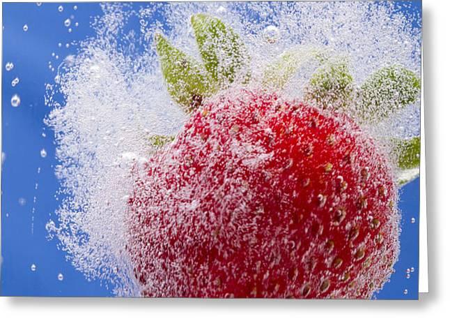 Strawberry Soda Dunk 1 Greeting Card by John Brueske