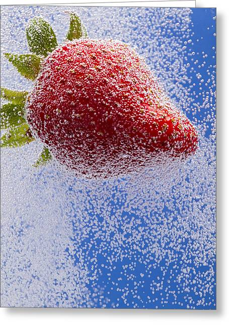 Carbonation Greeting Cards - Strawberry Soda Dunk 2 Greeting Card by John Brueske