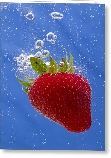 Carbonation Greeting Cards - Strawberry Soda Dunk 3 Greeting Card by John Brueske