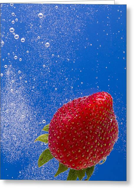 Carbonation Greeting Cards - Strawberry Soda Dunk 4 Greeting Card by John Brueske