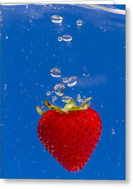 Carbonation Greeting Cards - Strawberry Soda Dunk 6 Greeting Card by John Brueske