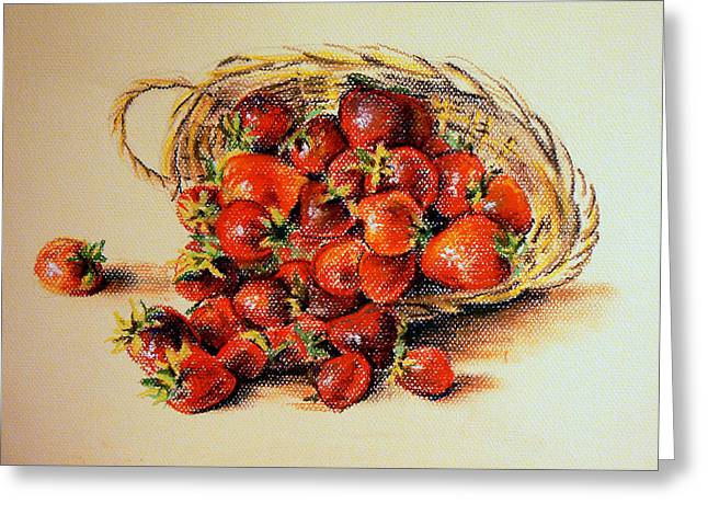 Basket Pastels Greeting Cards - Strawberry Greeting Card by Svetlana Nassyrov