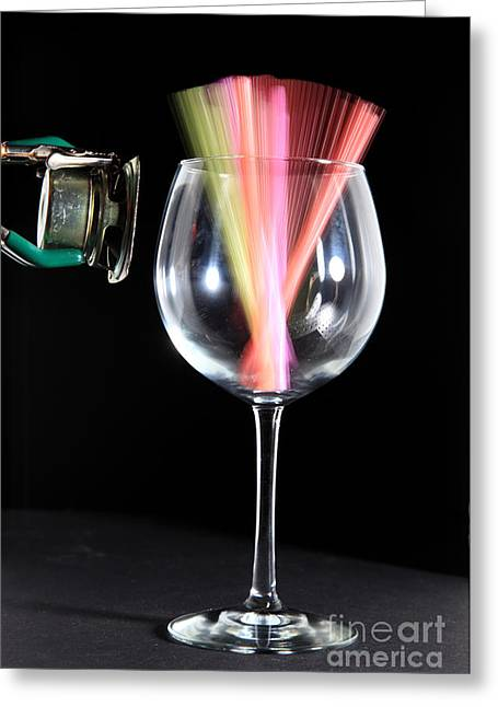 Acoustical Photographs Greeting Cards - Straws In A Glass At Resonance Greeting Card by Ted Kinsman