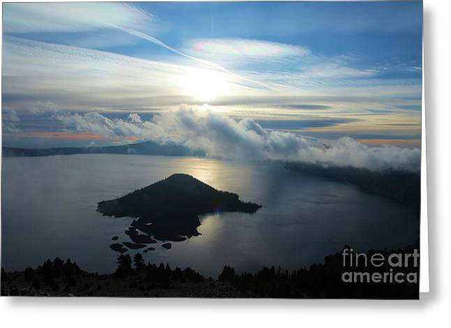 Crater Lake Sunset Greeting Cards - Streaks Above The Wizard Greeting Card by Adam Jewell