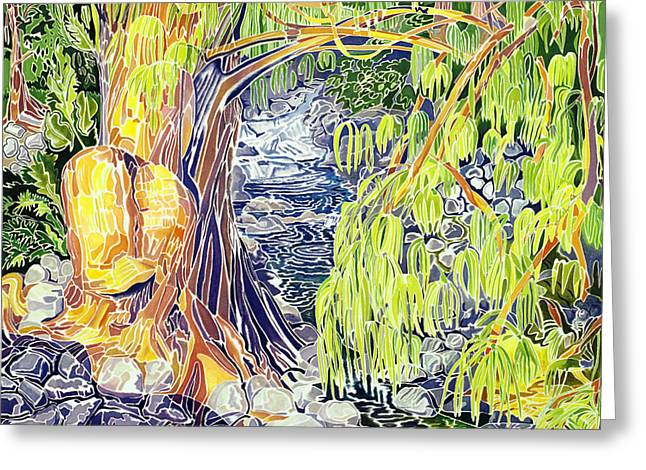 Overhang Paintings Greeting Cards - Stream at Laupahoehoe Greeting Card by Fay Biegun - Printscapes