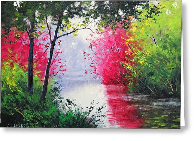 River Paintings Greeting Cards - Stream Bank Greeting Card by Graham Gercken