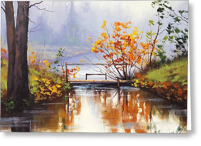 Misty Bridge Greeting Cards - Stream Crossing Greeting Card by Graham Gercken