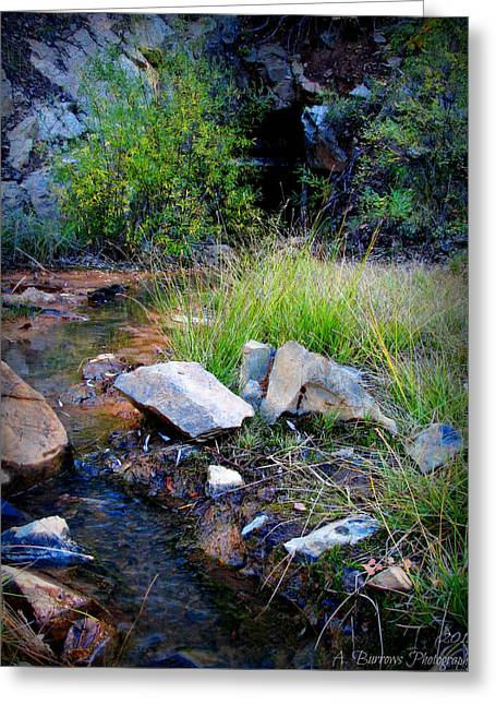 Prescott Greeting Cards - Stream out of the Mine Greeting Card by Aaron Burrows