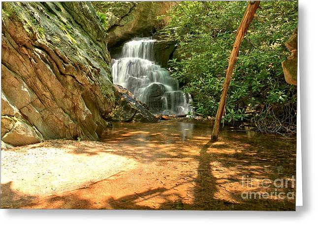 Ledge Photographs Greeting Cards - Stream To The Falls Greeting Card by Adam Jewell
