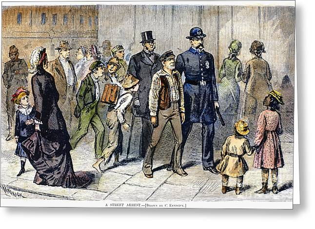Suspect Greeting Cards - Street Arrest, 1878 Greeting Card by Granger