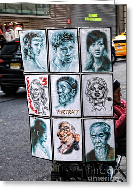 Caricature Portraits Greeting Cards - Street Art NYC Greeting Card by Edward Sobuta