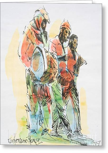 Street Band Greeting Card by Carey Chen