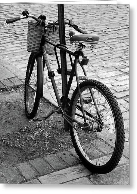Charleston Sidewalk Greeting Cards - Street Bike  Greeting Card by Skip Willits