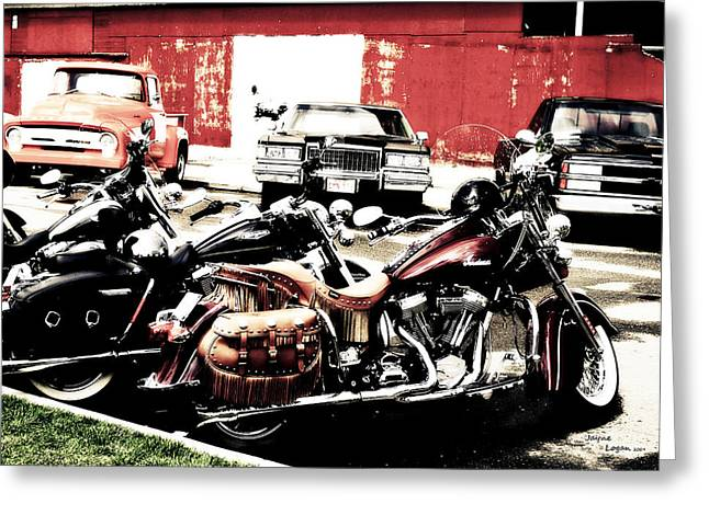 Artography Greeting Cards - Street Bikes Cars Greeting Card by Jayne Logan Intveld