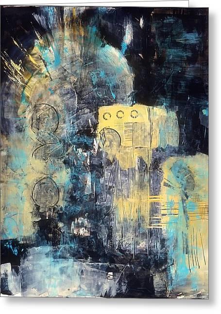 Ultra Modern Paintings Greeting Cards - Street Blues Greeting Card by Marie Cummings