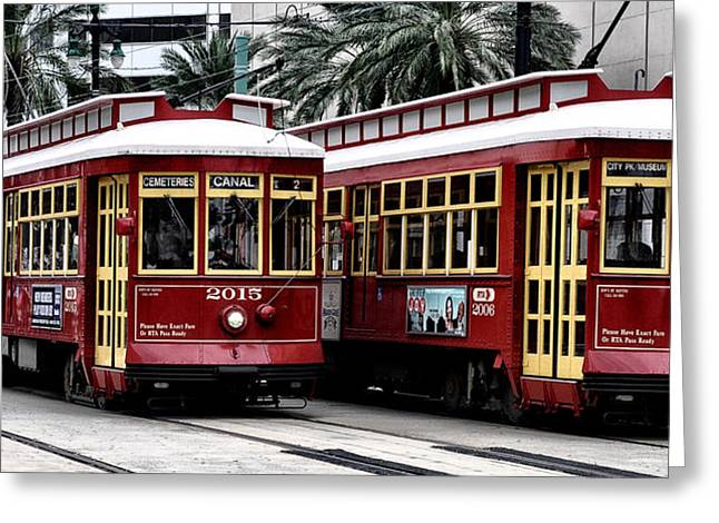 Canal Street Greeting Cards - Street Cars on Canal Street Greeting Card by Bill Cannon