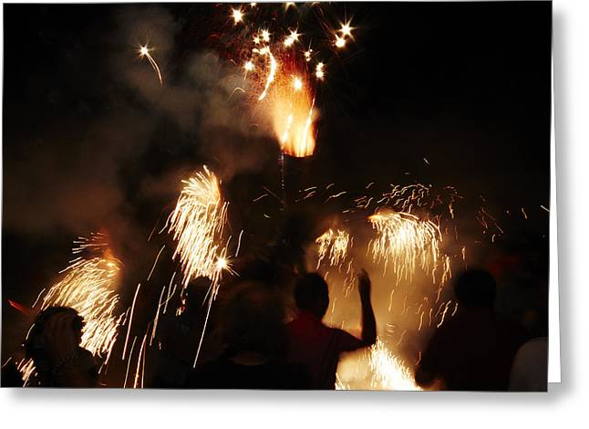 Fuegos Artificiales Greeting Cards - Street fire Greeting Card by Agusti Pardo Rossello