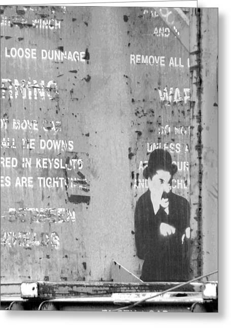 The Little Tramp Greeting Cards - Street Graffiti Art - the little Tramp bw Greeting Card by Kathleen Grace