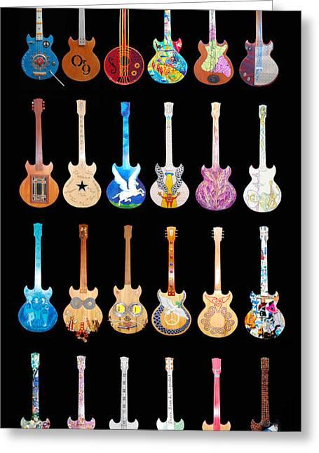 Rennie Greeting Cards - Street Guitars of Woodstock Greeting Card by Guy Harnett