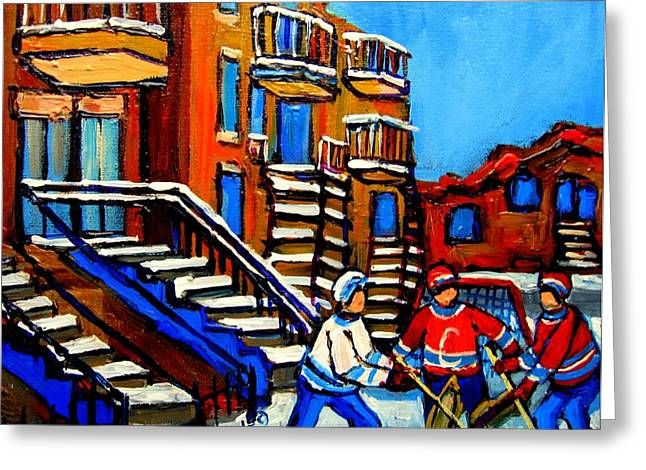 Hockey Heroes Greeting Cards - Street Hockey Near Staircases Montreal Winter Scene Greeting Card by Carole Spandau