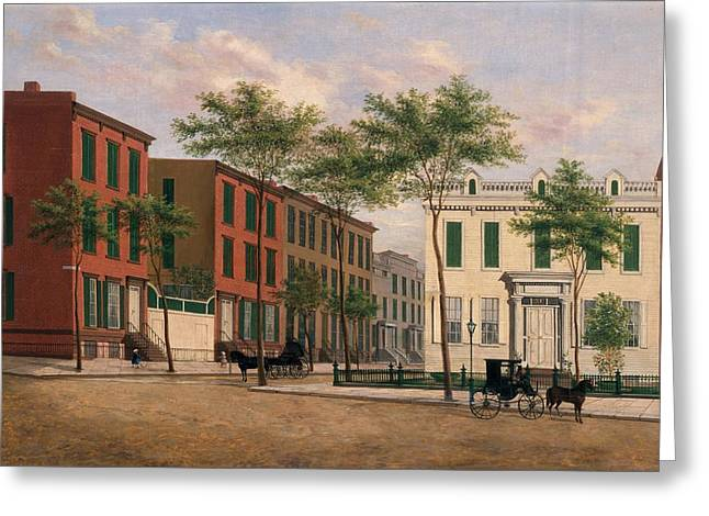 Townhouses Greeting Cards - Street in Brooklyn Greeting Card by American School