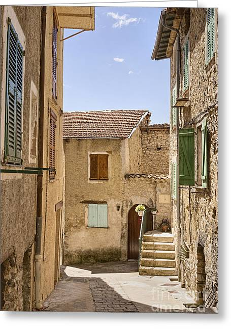 Calvados Greeting Cards - Street in Medieval French Town Greeting Card by Jon Boyes