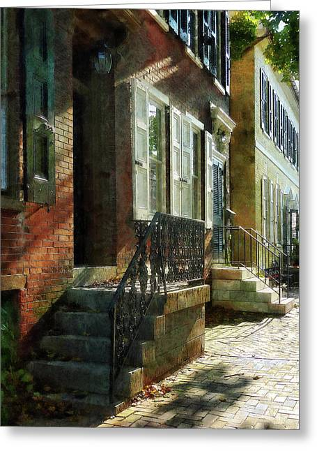 Stoops Greeting Cards - Street in New Castle Delaware Greeting Card by Susan Savad