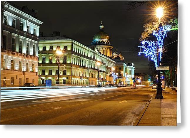 Snowy Night Night Greeting Cards - Street in Saint Petersburg Greeting Card by Roman Rodionov