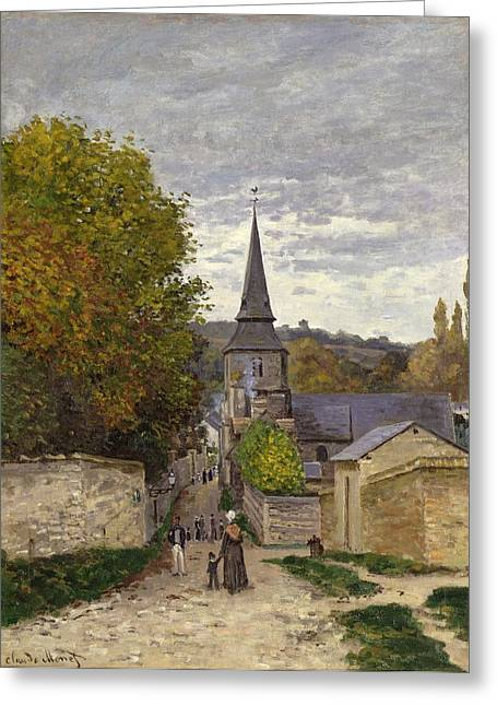 Village Views Greeting Cards - Street in Sainte Adresse Greeting Card by Claude Monet
