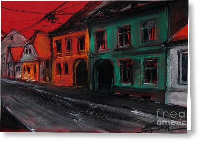 Red Buildings Pastels Greeting Cards - Street In Transylvania 1 Greeting Card by Mona Edulesco