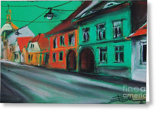 Red Buildings Pastels Greeting Cards - Street In Transylvania 2 Greeting Card by Mona Edulesco