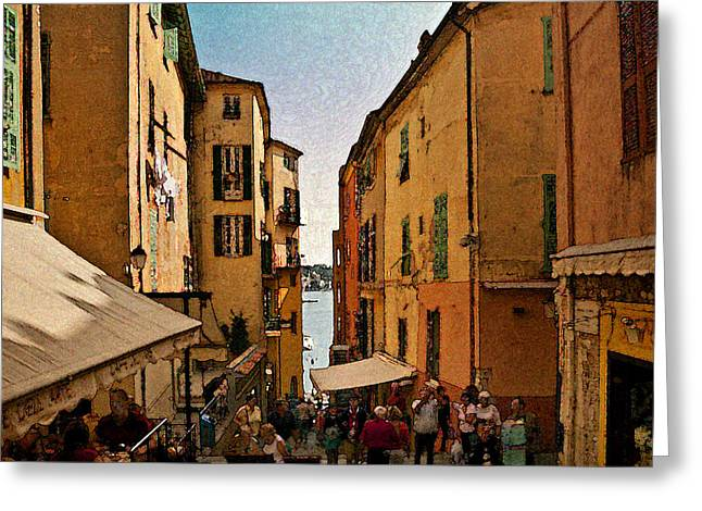 Villefranche Greeting Cards - Street in Villefranche II Greeting Card by Steven Sparks