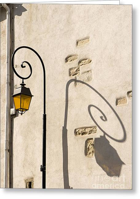 Streetlight Pyrography Greeting Cards - Street Lamp And Shadow Greeting Card by Igor Kislev
