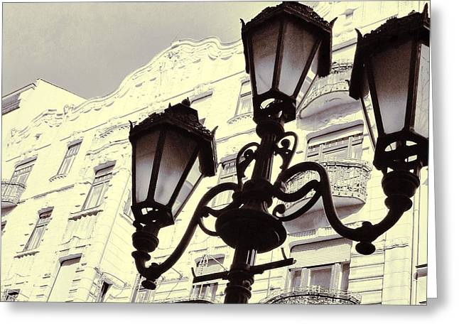 Street View Greeting Cards - Street lamps of Budapest Hungary Greeting Card by Marianna Mills
