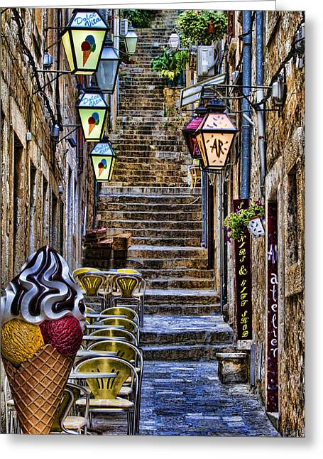 Dubrovnik Greeting Cards - Street lane in Dubrovnik Croatia Greeting Card by David Smith