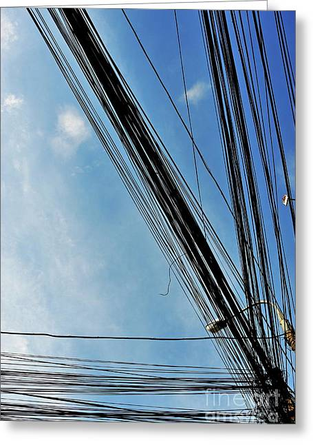 Streetlight Greeting Cards - Street light and electricity power lines Greeting Card by Sami Sarkis