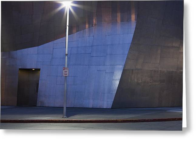Casting A Shadow Greeting Cards - Street Light in Front of Modern Building Greeting Card by Paul Edmondson