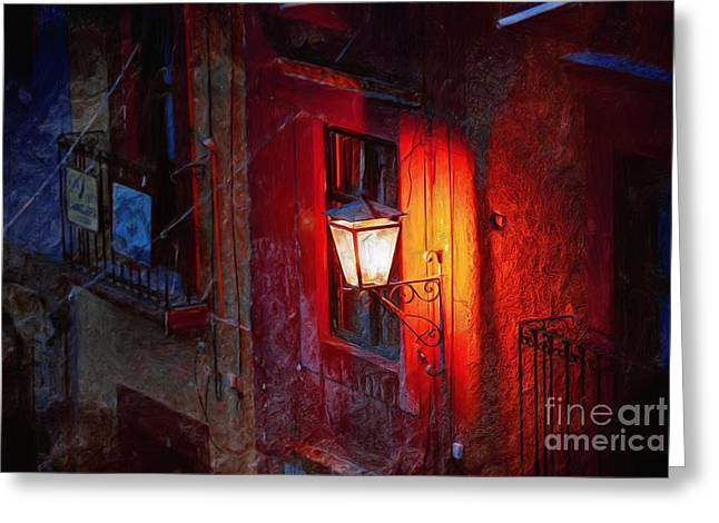 Streetlight Greeting Cards - Street Light On Calle Quebrada Greeting Card by John  Kolenberg