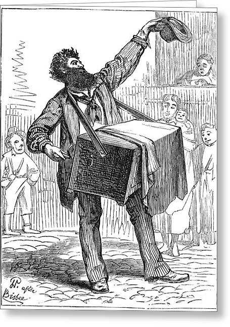 Hurdy-gurdy Greeting Cards - Street Musician, 1875 Greeting Card by Granger