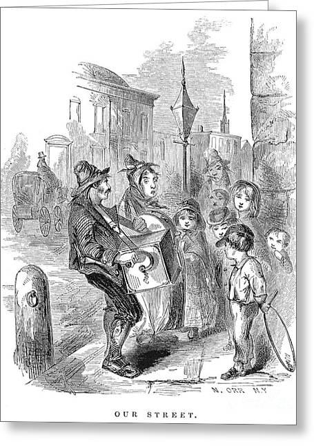 Hula Hoop Greeting Cards - Street Musicians, 1854 Greeting Card by Granger
