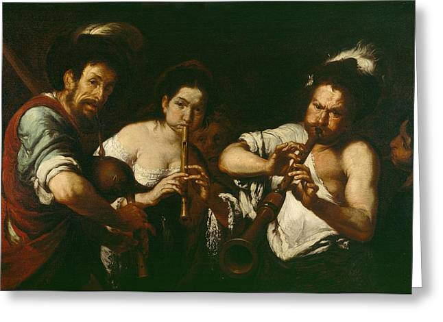 Travelling Greeting Cards - Street Musicians Greeting Card by Bernardo Strozzi