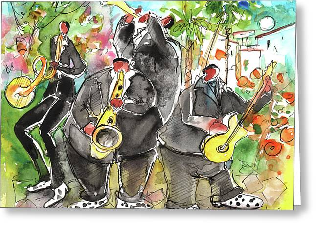 Agia Napa Greeting Cards - Street Musicians in Cyprus Greeting Card by Miki De Goodaboom