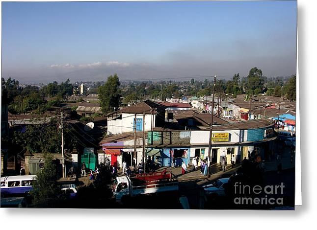 Myspace Greeting Cards - Street of Addis Ababa Greeting Card by Cherie Richardson