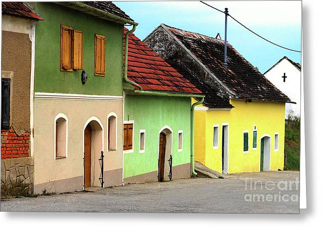 Wine Tour Greeting Cards - Street of Wine Cellar Houses  Greeting Card by Mariola Bitner