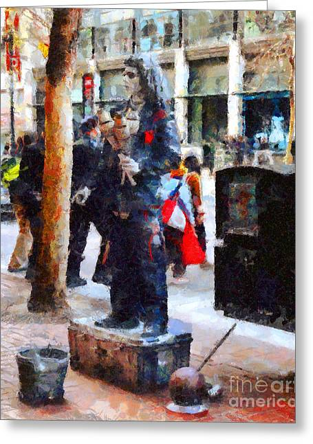 Downtown San Francisco Digital Art Greeting Cards - Street Performer in Downtown San Francisco . 7D4246 Greeting Card by Wingsdomain Art and Photography
