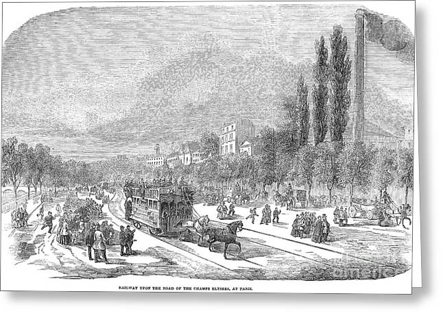Champs Greeting Cards - Street Railway, 1853 Greeting Card by Granger