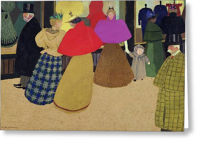 Mannequin Greeting Cards - Street Scene Greeting Card by Felix Edouard Vallotton