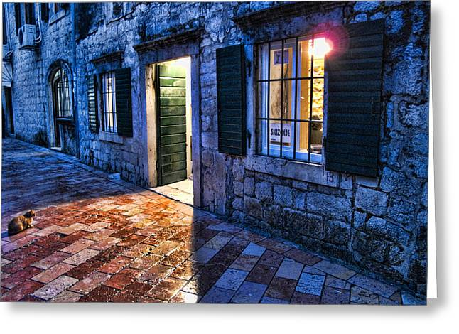 Night Lamp Greeting Cards - Street scene in ancient Kotor Montenegro Greeting Card by David Smith